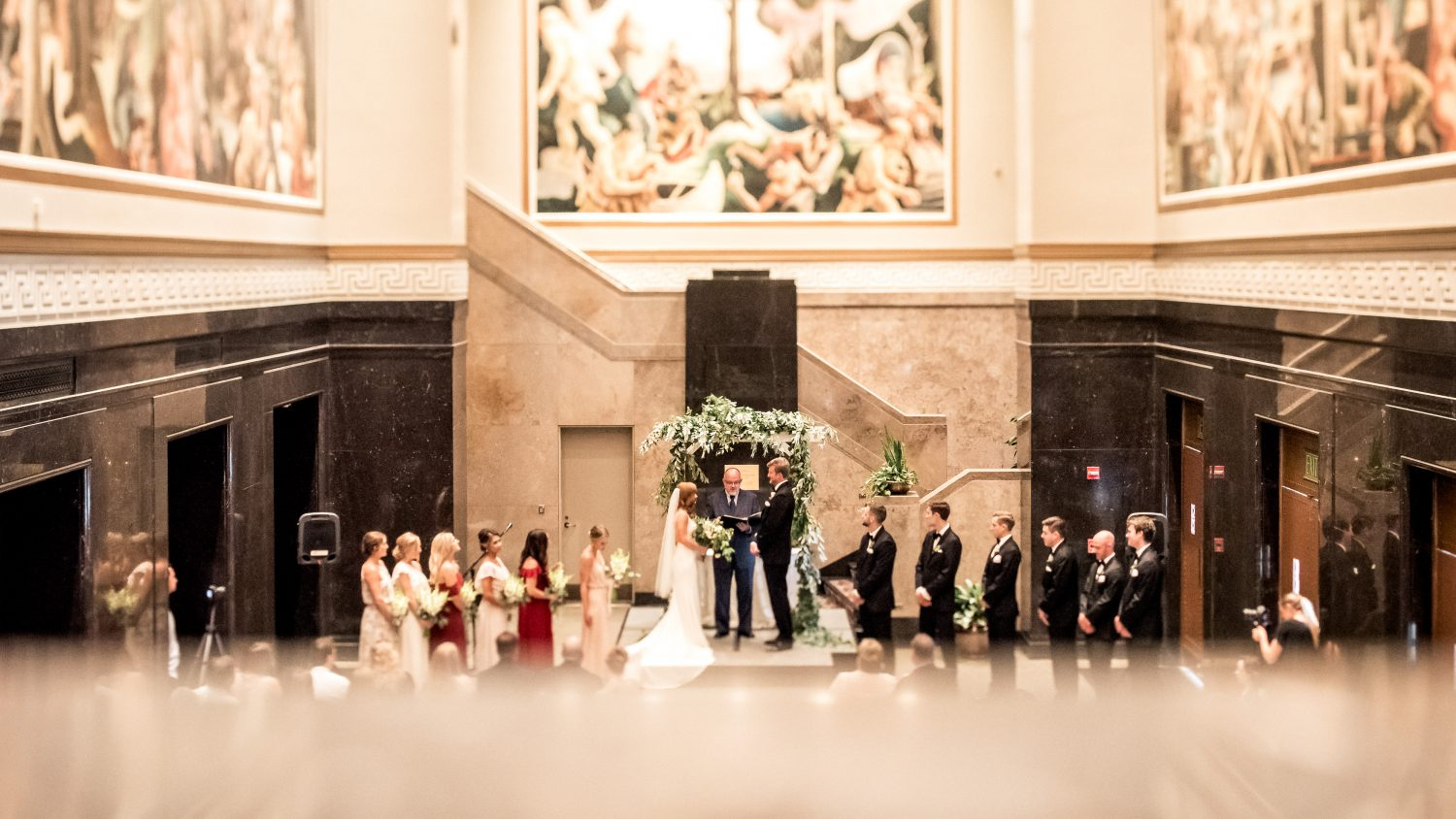 hall of murals wedding photos at indiana university in