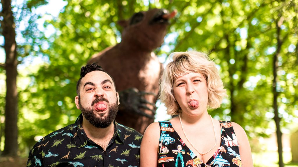 Silly Engagement Photos with Giant Sloth
