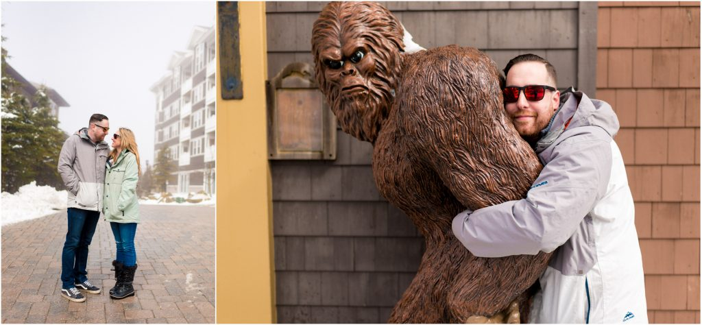 Couple snuggling and guy hugging a sasquatch statue.