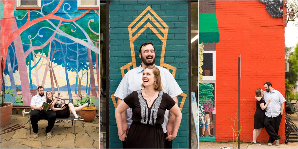 S+T at cool Alexandria murals during their engagement pictures