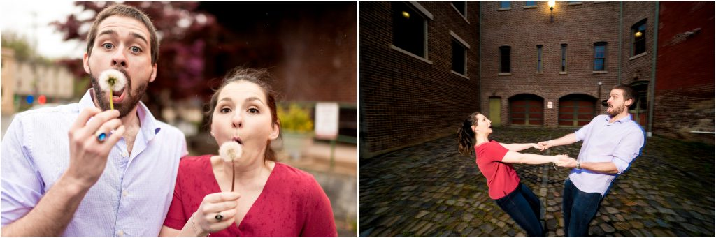 Funny and laid back engagement photos in Virginia of Shannon + Ryan