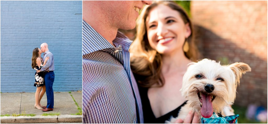 Becky + Rob holding their dog during their Richmond Engagement Pics