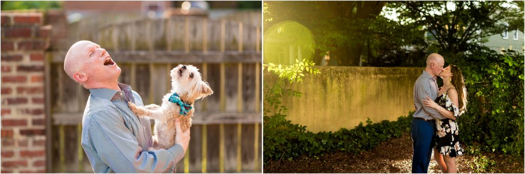 Rob making his dog howl during his RVA engagement pics