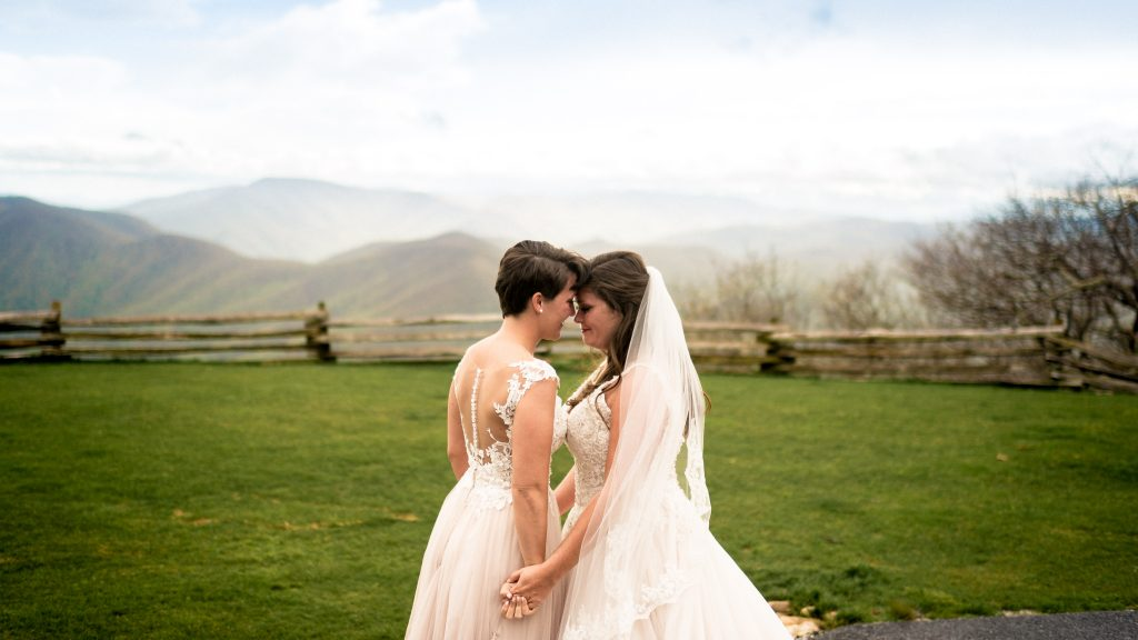Ashley + Sarah at the top of Wintergreen Mountain before their Bold Rock wedding