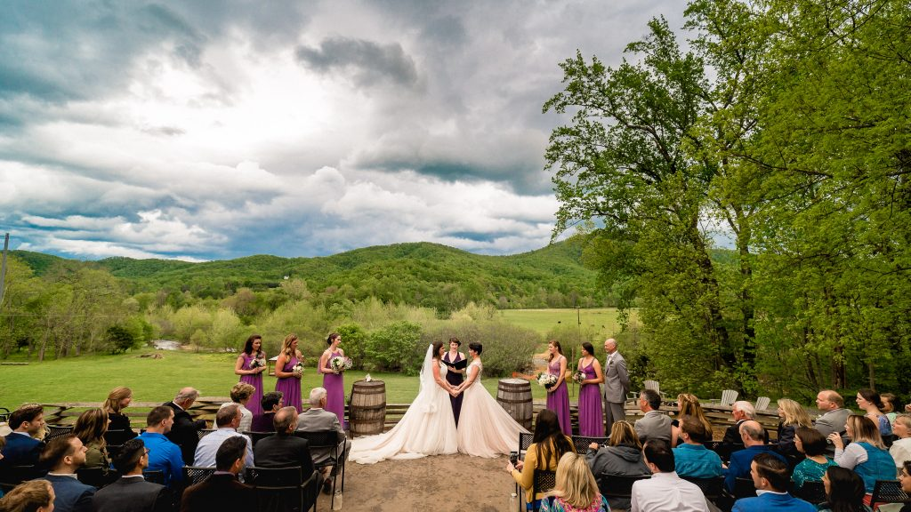 Bold Rock Wedding Ceremony Photo outside on the grounds