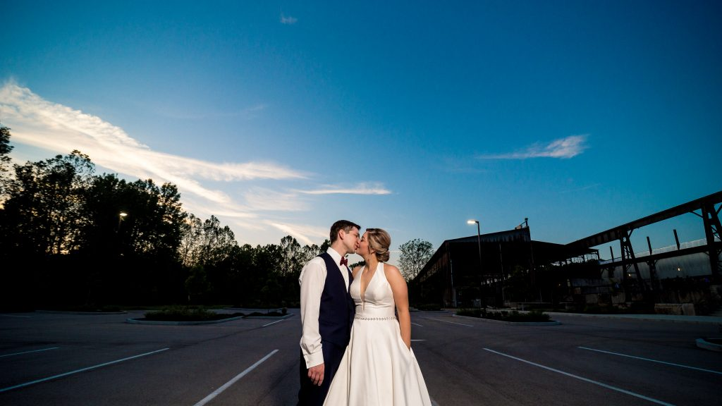 Sam + Jeremiah at the end of their Woolery Mill wedding