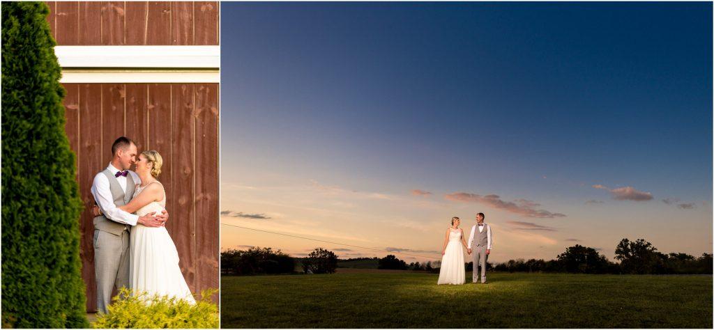 wedding couple at the barn at kline's mill outside harrisonburg