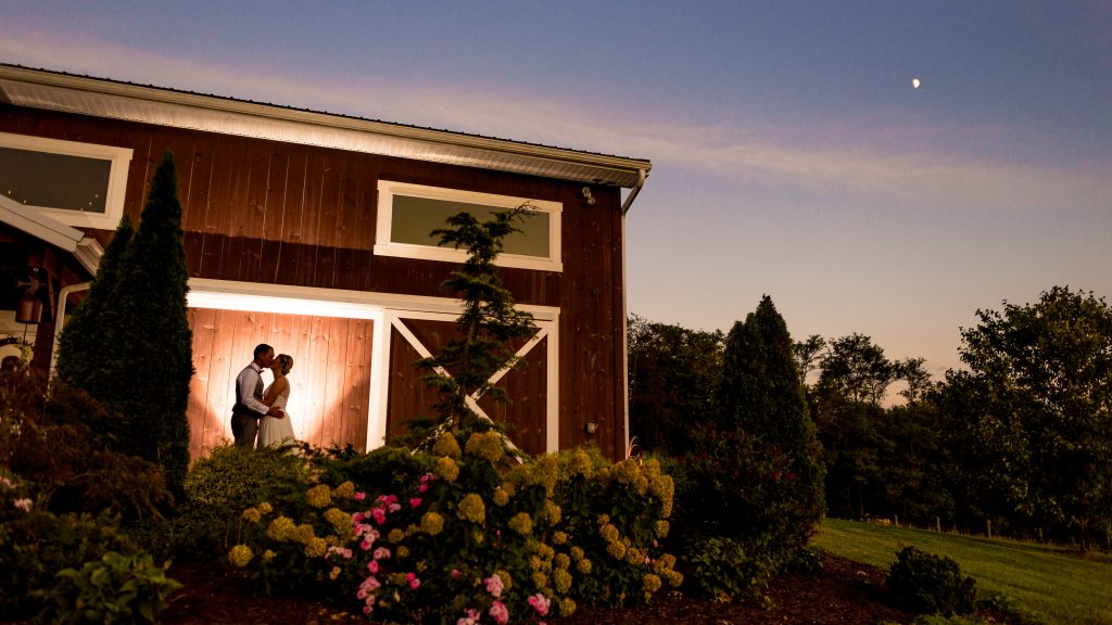 Silhouette of couple at Barn at Klines Mill
