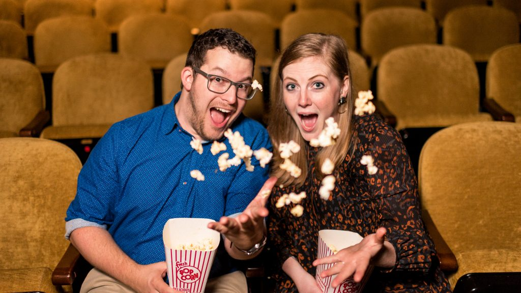 Fun Engagement Photos at the Paramount Theater in Charlottesville