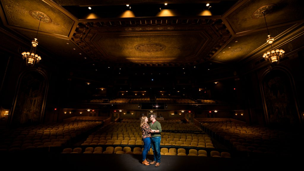 engagement photos inside the paramount theater