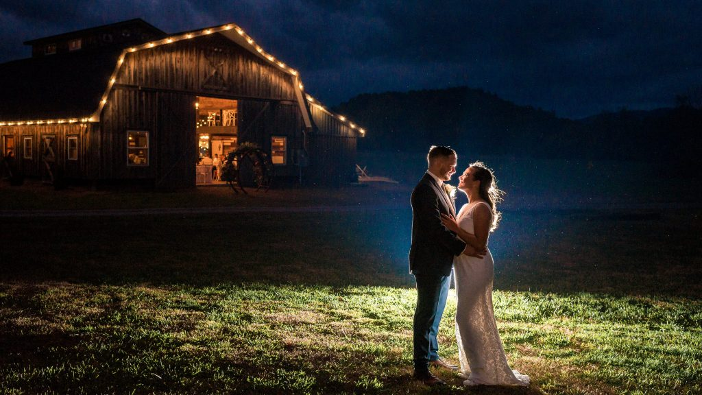 romantic night portrait at farm at glen haven